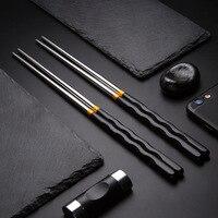 Palillos antideslizantes de acero inoxidable para el hogar, antideformación, palillos de metal coreanos, 1 par, 304
