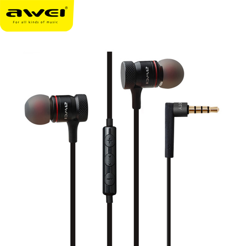 Awei ES-70TY Wired Earphone Earbuds Stereo Headset With Microphone Metal In Ear Super Bass Earpiece For iphone Samsung Xiaomi