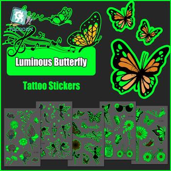 Świetlisty motyl naklejki z tatuażami wodoodporne wróżki kwiaty księżyc tymczasowy tatuaż dla kobiet dziewczyn strona skrzynia ręka fałszywy tatuaż tanie i dobre opinie Jedna jednostka CN (pochodzenie) 120*75mm Zmywalny tatuaż cartoon Transfer sticker