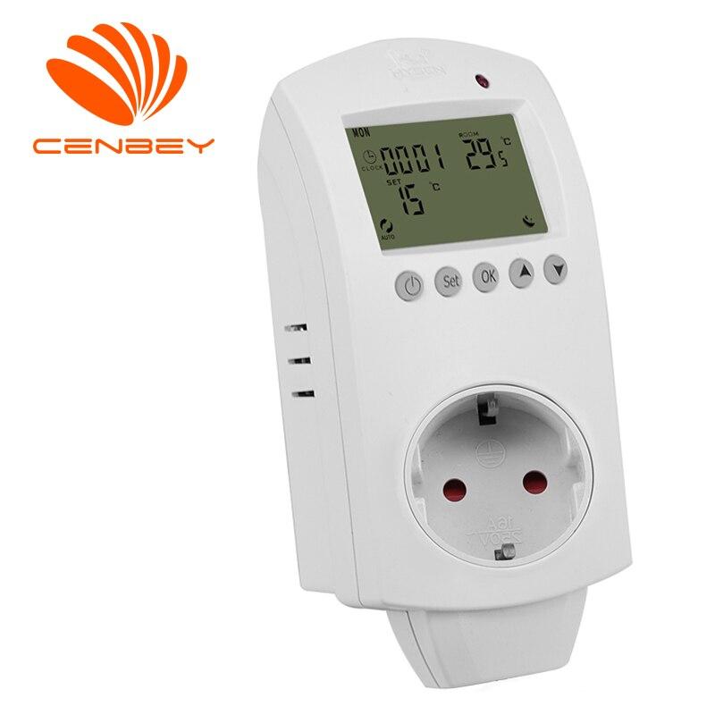 Programmable Thermostat Plug Socket Temperature Controller Regulator Underfloor Heating Outlet Controller UK DE EU 16A