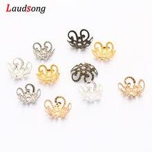 Capuchons de perles d'espacement en métal, filigrane de fleur de 10mm, pour bricolage, fabrication de bijoux, résultats, perles d'extrémité, accessoires, 100 – 500 pièces/lot
