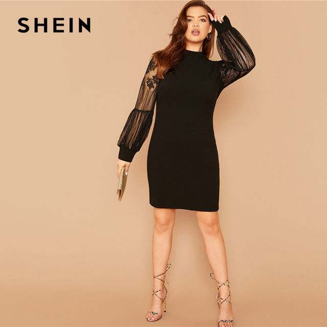 SHEIN Plus Size Black Mock-Neck Lace Lantern Sleeve Solid Dress Women Summer Autumn Plus Elegant Fitted Short Dresses 4