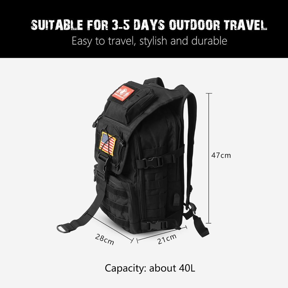 Sac à dos tactique militaire sac de camouflage militaire pour hommes sac de camping de chasse en plein air randonnée sac à dos d'alpinisme - 5