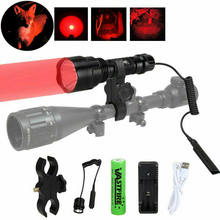 C8 4000 Lumens XM-L Q5 Led Weapon Gun Lights Red Tactical hunting Flashlight+Rifle Scope Airsoft Mount+ Switch+18650+USB Charger(China)