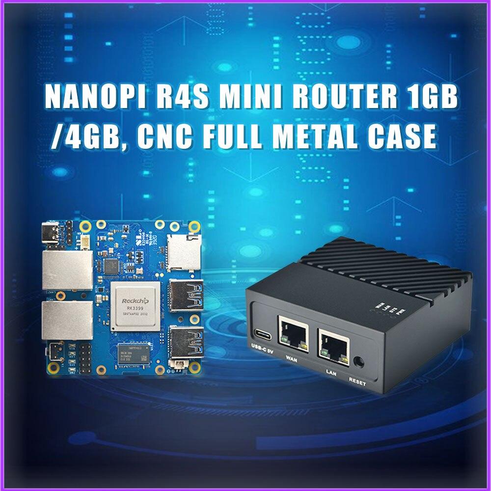 Мини-роутер NanoPi R4S, 1 ГБ/4 ГБ, ЧПУ, полностью металлический корпус, RK3399, двойной порт Gigabit Ethernet