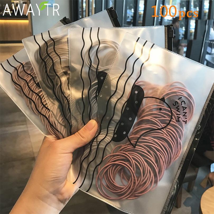 100pcs/bag 5CM Hair Accessories Women Rubber Bands Scrunchies Elastic Hair Bands Girls