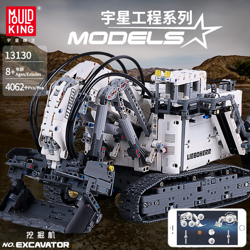 Technic Series Liebherrs R 9800 Excavator Motor Power Mobile Crane Mk II Car Model Building Blocks Bricks Fit Legoed 42100 Toys