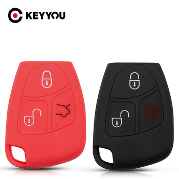 KEYYOU For Mercedes-Benz CL55 CL600 C230 CL65 C240 C280 C320 3 Button Silicone Remote Key Cover Protector Shell Case Fob image