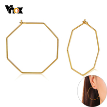 Vnox Varies Geometric Shape Oversize Hoop Earrings for Women Solid Gold Tone Stainless Steel Hexagon Square Round Circle Brincos недорого