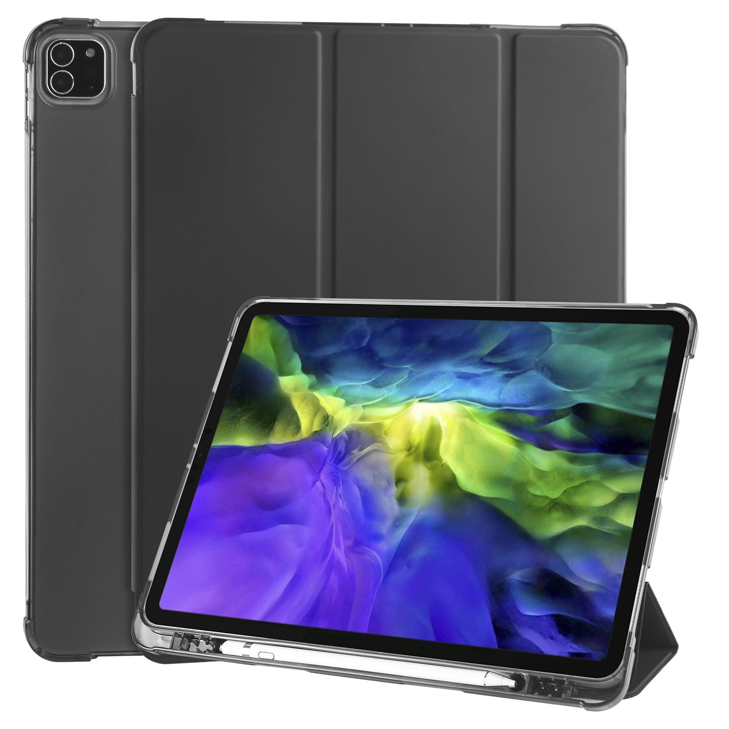 Black Black Smart Soft Shockproof Case for iPad Pro 12 9 2020 2018 3rd 4th Generation with Pen