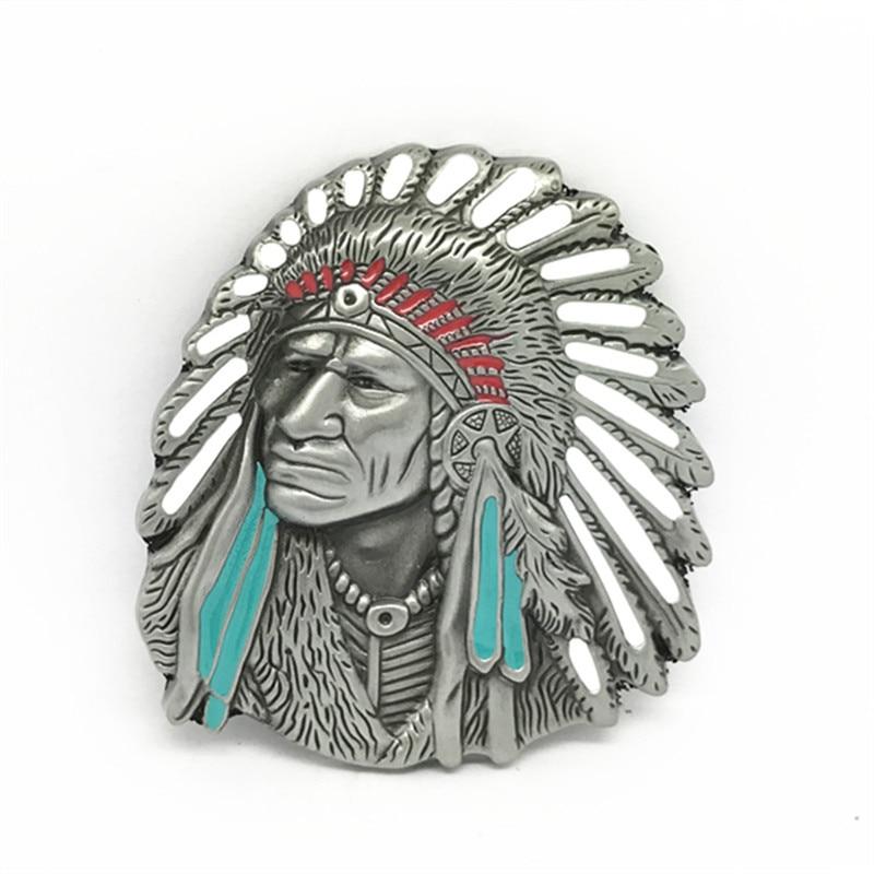 Western Cowboy Dress Belt Buckle Belt Head Indians Head Alloy Buckle Fit For 4.0cm Wide Belt Buckle Accessories For Mens