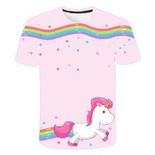 2021 bonito rosa unicórnio meninos e meninas manga curta camiseta. Impressão digital 3d de roupas infantis com moda, solta um