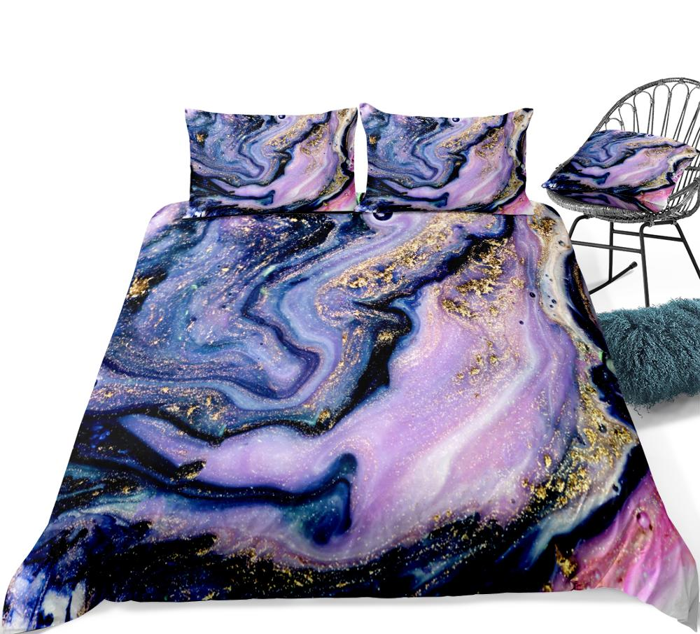 marble duvet cover set purple gold luxury marble bedding colorful marble abstract art quilt cover queen bed set teens dropship