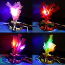 Neon Mask LED Light Up Party Masks Festival Cosplay Costume Supplies Glow In Dark Party Multicolor Luminous Feather Mask halloween led skull mask purge masks election mascara costume purge movie el wire dj party lighting glow in dark cosplay masks