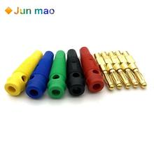 4pcs New 4mm Plugs Gold Plated Musical Speaker Cable Wire Pin Golden Banana Plug Connectors Socket Red Black Blue Green Yellow(China)
