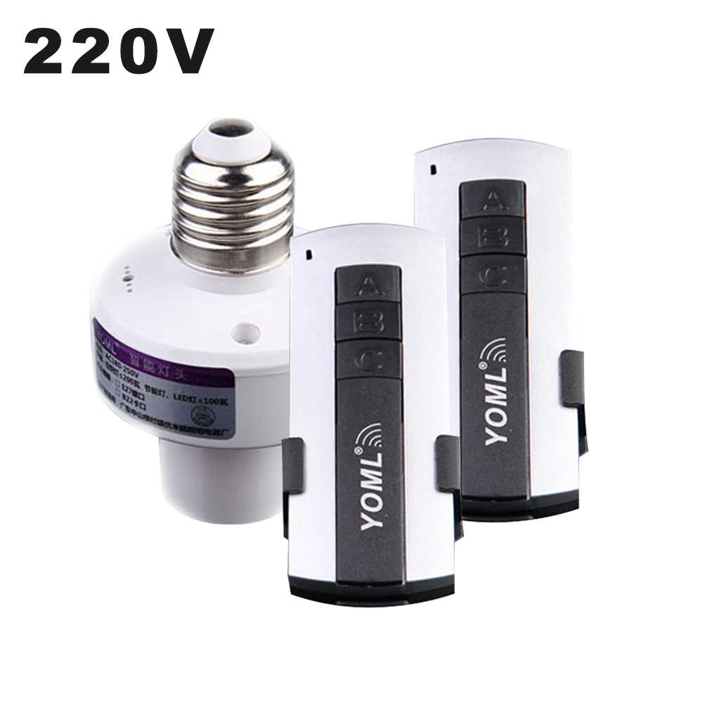 220V Remote Control Switchs Wireless RF E27 Screw Light Base ON/Off Timer Switch Socket 315mhz For LED Lamp Bulb Smart Home