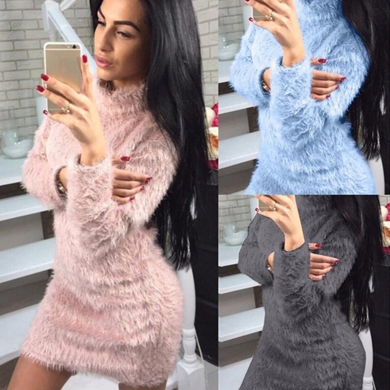 Women Winter Fashion Dress Solid Color High Collar Long Sleeved Dress Lovely Plush Dress
