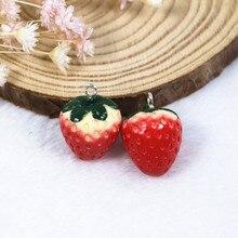 10pcs/lot 3D Strawberry Orange Fruit Charms keychain pendant  necklace pendant for DIY decoration