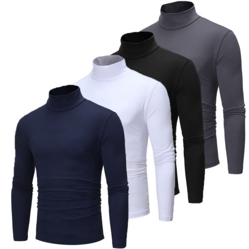 Fashion Winter Men Slim Warm Knit High Neck Pullover Jumper Sweater Top Turtleneck Solid New Plus Size