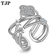 Fashion Brand Don't Fade Copper Alloy Shell Jewelry Unique Multi-layer Lucky Four Leaf Clover Ring Clear CZ Open For Women серьги other lucky brand stamp 10