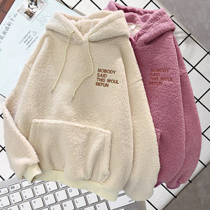 Autumn Winter Warm Hoodies Women Letter Embroidery Casual Loose Hooded Sweatshirt Plus Velvet Pocket Hoodies Solid Pullover Coat