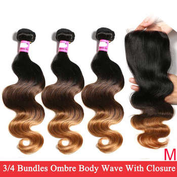 Indian Body Wave Bundles With Closure Ombre 1B 4/27/30 Human Hair 3/4 Bundles With 4x4 Swiss Lace Closure Remy Hair Extensions