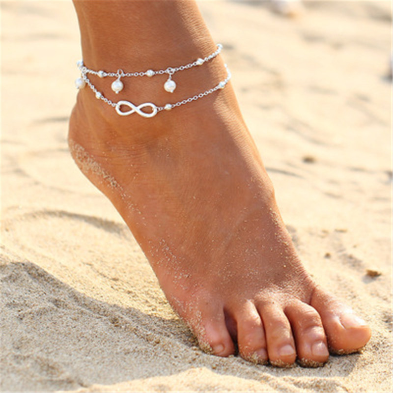 2PCS Retro Pearl Heart Infinity Ankle Anklet Bracelet Set Bohemia Foot Beach Anklets Women Fashion Barefoot Chain Jewelry