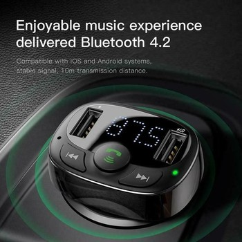 FM Transmitter Modulator Bluetooth Handsfree Car Kit Audio Mp3 Player With 3.4a Car Fm Transmittor Dual USB Phone Charger image