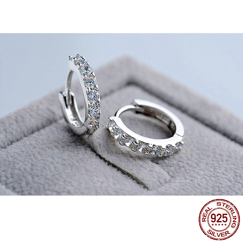 LByzHan 100% Real 925 Sterling Silver Crystal Circle Earring For Women Making Jewelry Gift Wedding Party Engagement E024