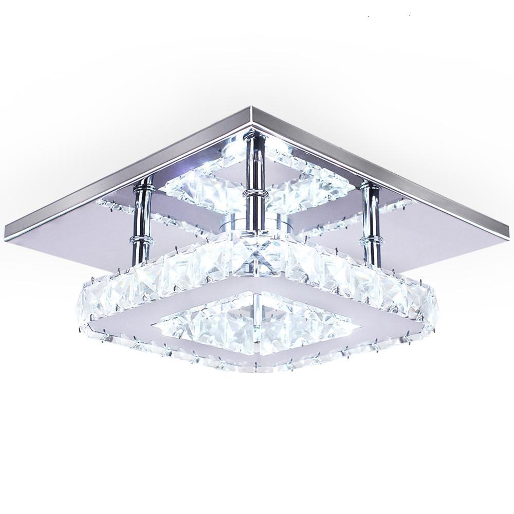 Contemporary Led Light Bar Ceiling Chrome Crystal Square Shape In Ceiling Led Lights Fancy Ceiling Light Night Club Home Bedroom Leather Bag