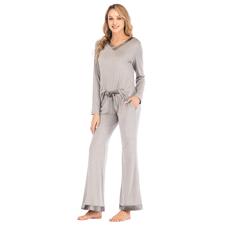 Sanderala Autumn Winter Women Cotton Modal Patchwork Long Sleeve Sleepwear Ladies Soft Loungewear HomeWear PJ Pjama Pajama Sets