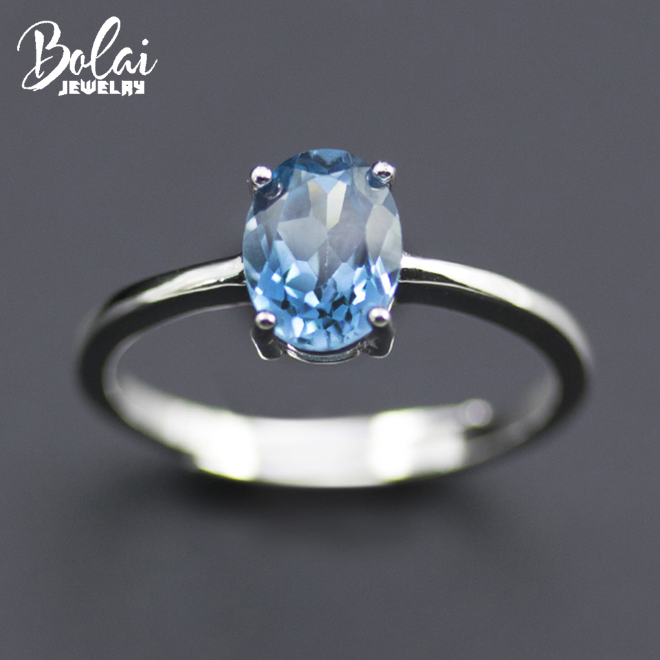 Bolai London blue topaz solitaire ring solid 925 sterling silver created oval gemstone fine jewelry for women girl basic style