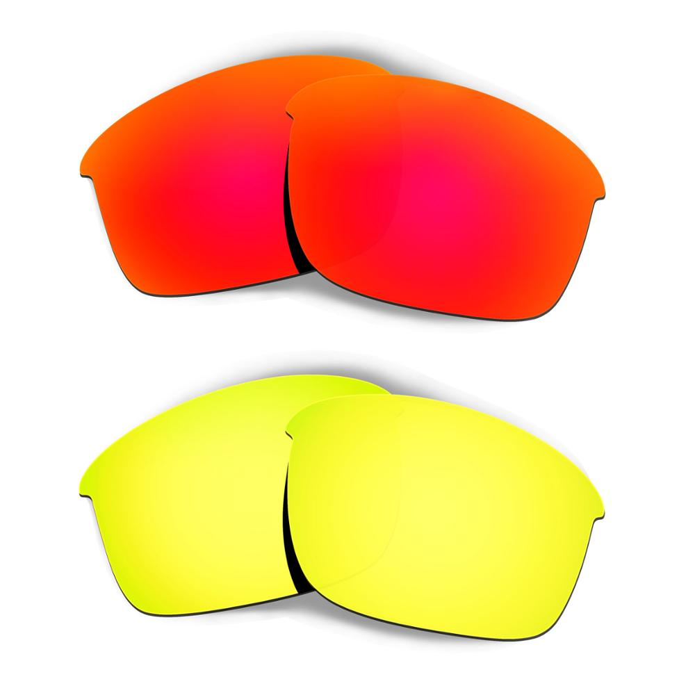 HKUCO For Bottle Rocket Sunglasses Replacement Polarized Lenses 2 Pairs - Red & Gold