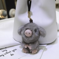 2019 Cute Pig Keychain Mink Fur Animal Pig Keyring Holder Bag Charm Trinket Chaveiros Bag Accessories Punk Style Pendant