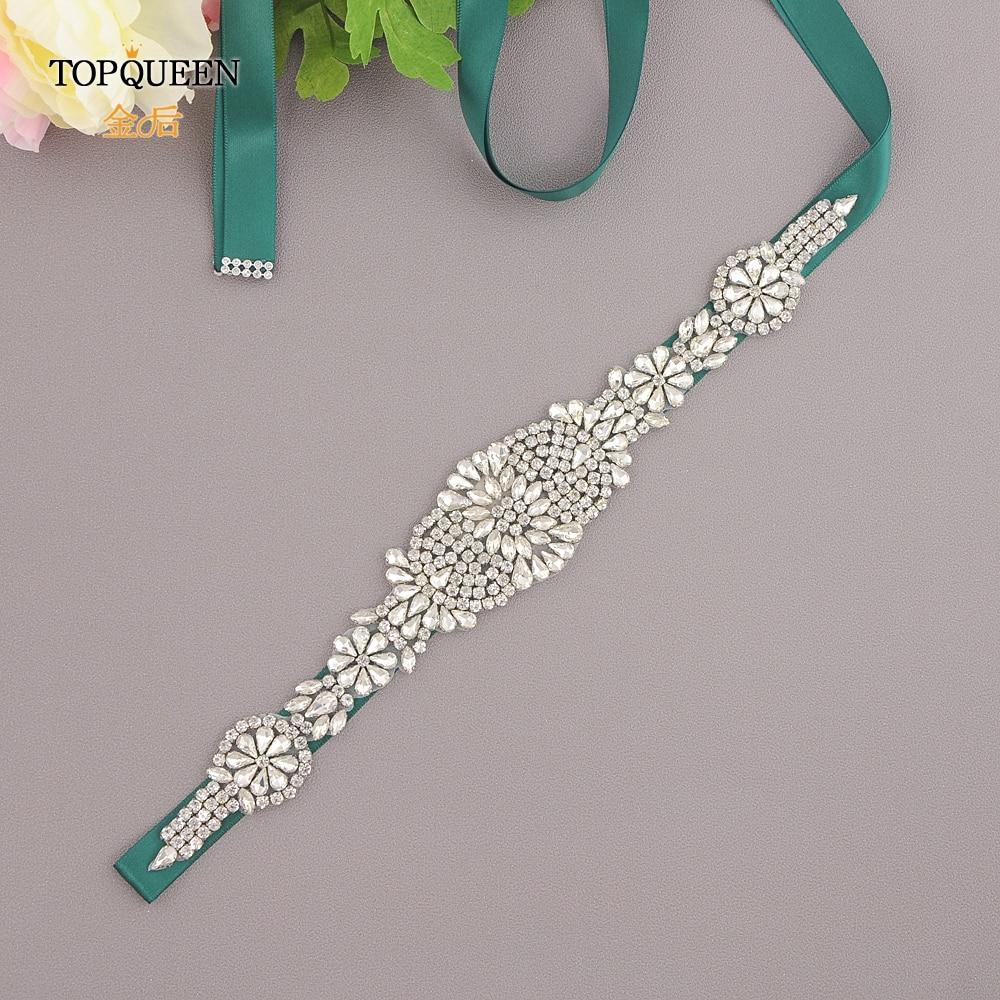 TOPQUEEN S123  Silver Diamond Belt Rhinestone Belt Wedding Belt Sashes Bride Waistband Dress Satin Ribbon Belt Women Bling Belt