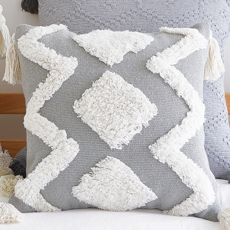 Image 5 - Home Decor Boho Pillowcase Sofa Cushion Cover Square Decor Pillows Bedroom Living Room Woven Modern Large Tassel Pillow CoverCushion Cover   -