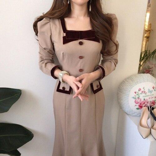 Chic Elegant Autumn Bow Hit Color Button Slim Fit Waist Patchwork Square Neck Mermaid Dress Fashion Vintage Vestido De Mujer 7