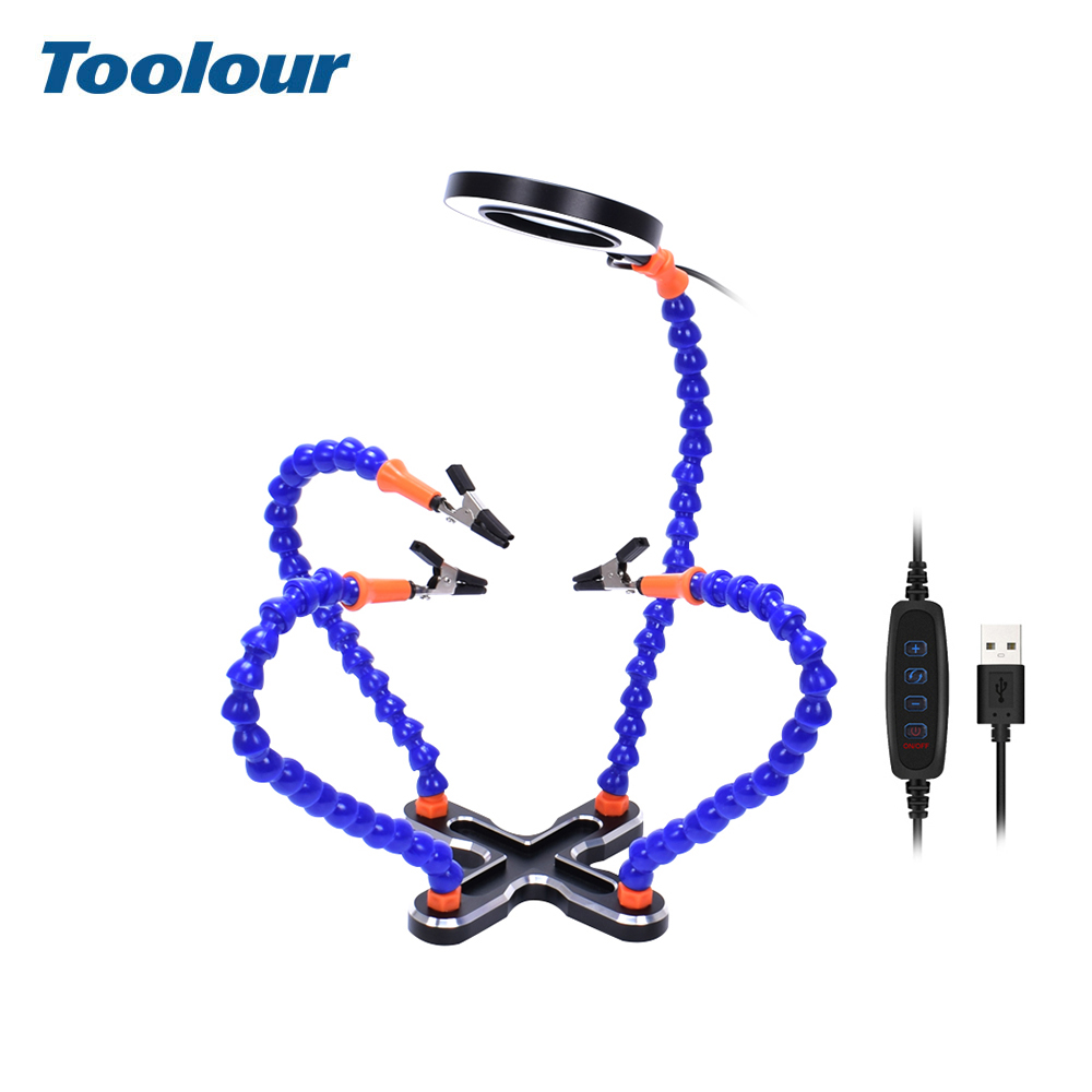 Image 5 - Toolour Soldering Station with 4pc Flexible Arms Soldering Iron Holder Third Helping Hand Tool PCB Welding Repair Welding ToolElectric Soldering Irons   - AliExpress