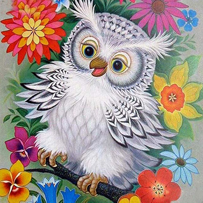Antique White Owls 5D DIY FULL Drill Diamond Painting Embroidery Decor 30*40cm