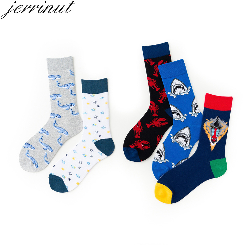 Jerrinut Men Cotton Cute Funny Socks With Print Spring Autumn Casual Happy Socks Fashion Cartoon Animal Shark Crayfish Crew 1Pai