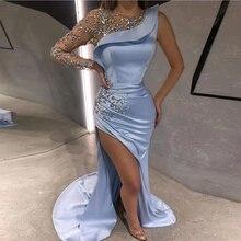 цена на Eightale Blue Mermaid One Shoulder Prom Dresses 2020 Beading Long Sleeves Side Split Sexy Satin Formal Evening Party Dress