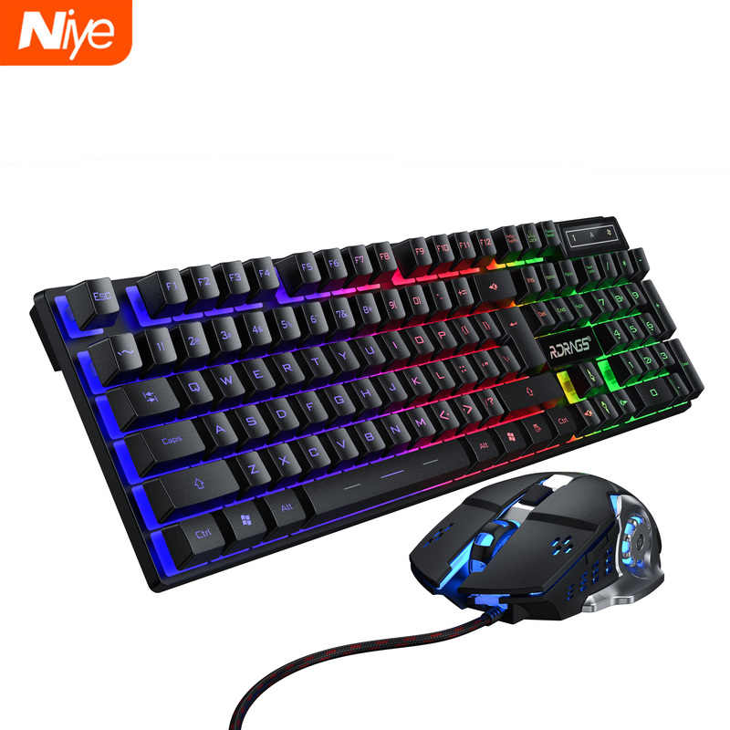 Gaming Toetsenbord En Muis Bedraad Backlight Toetsenbord Mechanische Toetsenbord Gamer Kit Stille 3200Dpi Gaming Muis Set Voor Pc Laptop