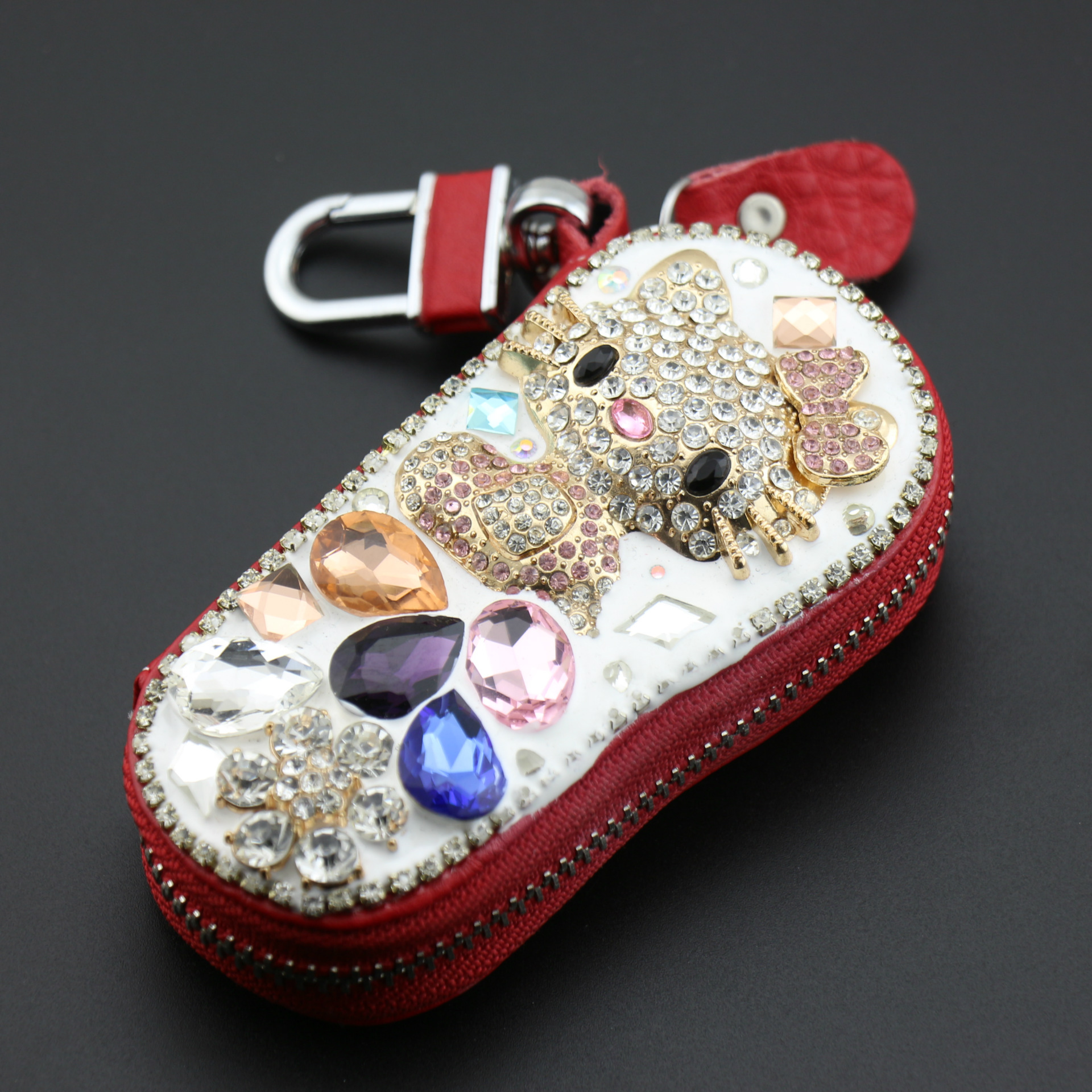 New cute  Crystal Rhinestone Hello Kitty Key Chain Perfume Bottle Car Key Bag Fashion Women Leather Car Key Chain Wallet Gift