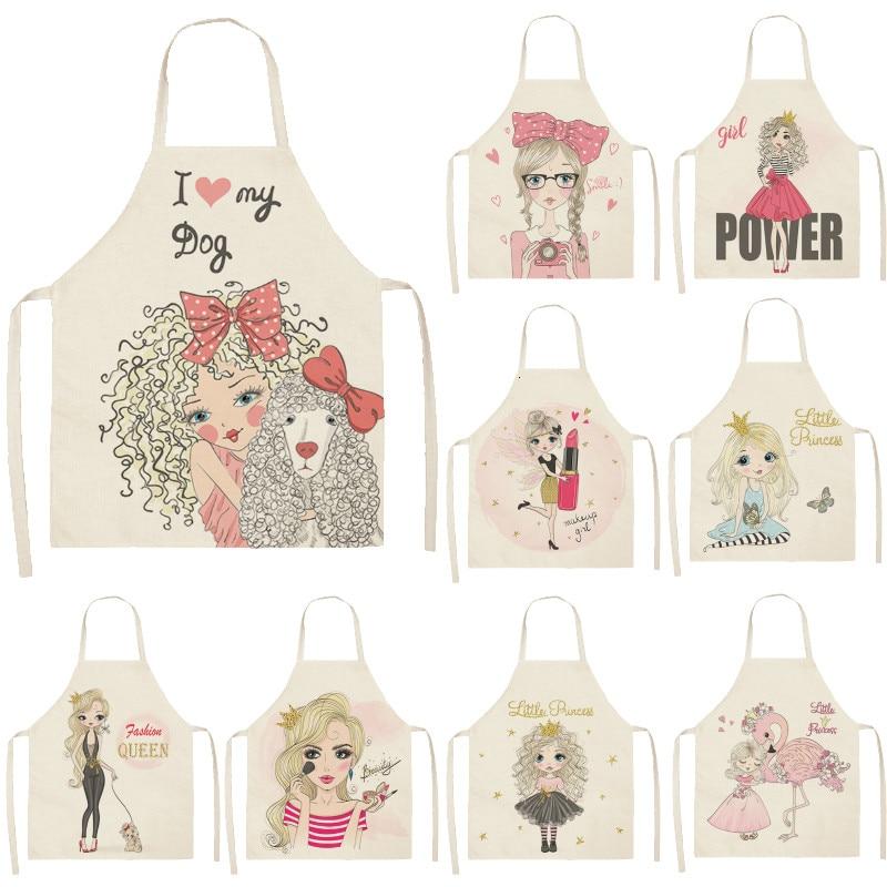 Cute Girl Cotton Linen Sleeveless Apron Printed Kitchen Aprons Women Home Cooking Baking Waist Bib Pinafore 53*65cm WQL0151
