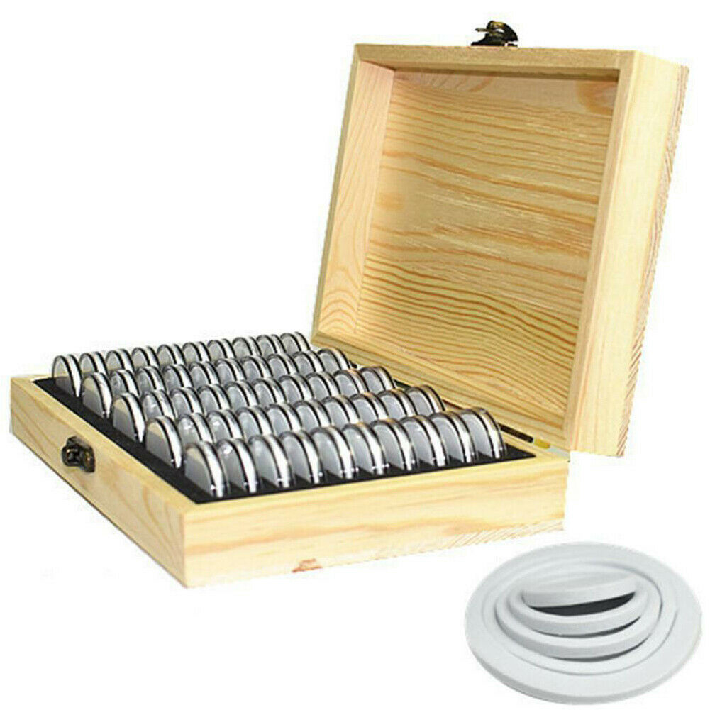Functional Wooden Coins Display Storage Box Case for Collectible Coin Capsules 50Pcs 215x35x45 mm