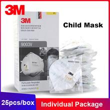 25 sztuk pudło 3M 9003V pył Kid dziecko higieniczna maska pojedynczy pakiet zawór Earloop wielokrotnego użytku ochronne maski na twarz dzieci KN90 tanie tanio Chin kontynentalnych Osobiste Jednorazowego użytku Melt blown cloth NONE MS161 GB2626-2006