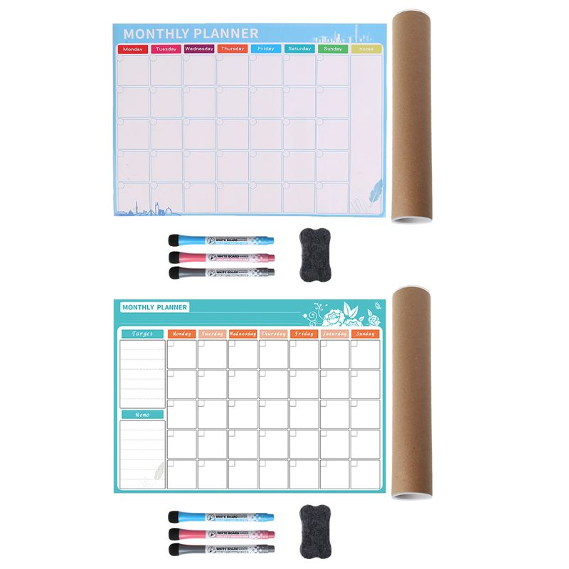 1Set A3 Monthly Planner Magnetic Whiteboard Fridge Magnets Drawing Message Board Memo
