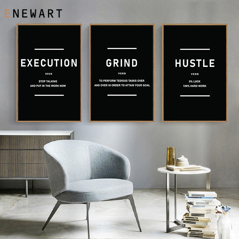 Office Decor Motivation Canvas Painting Art Hustle Grind Execution Success Wall Picture Entrepreneur Quote Prints and Posters