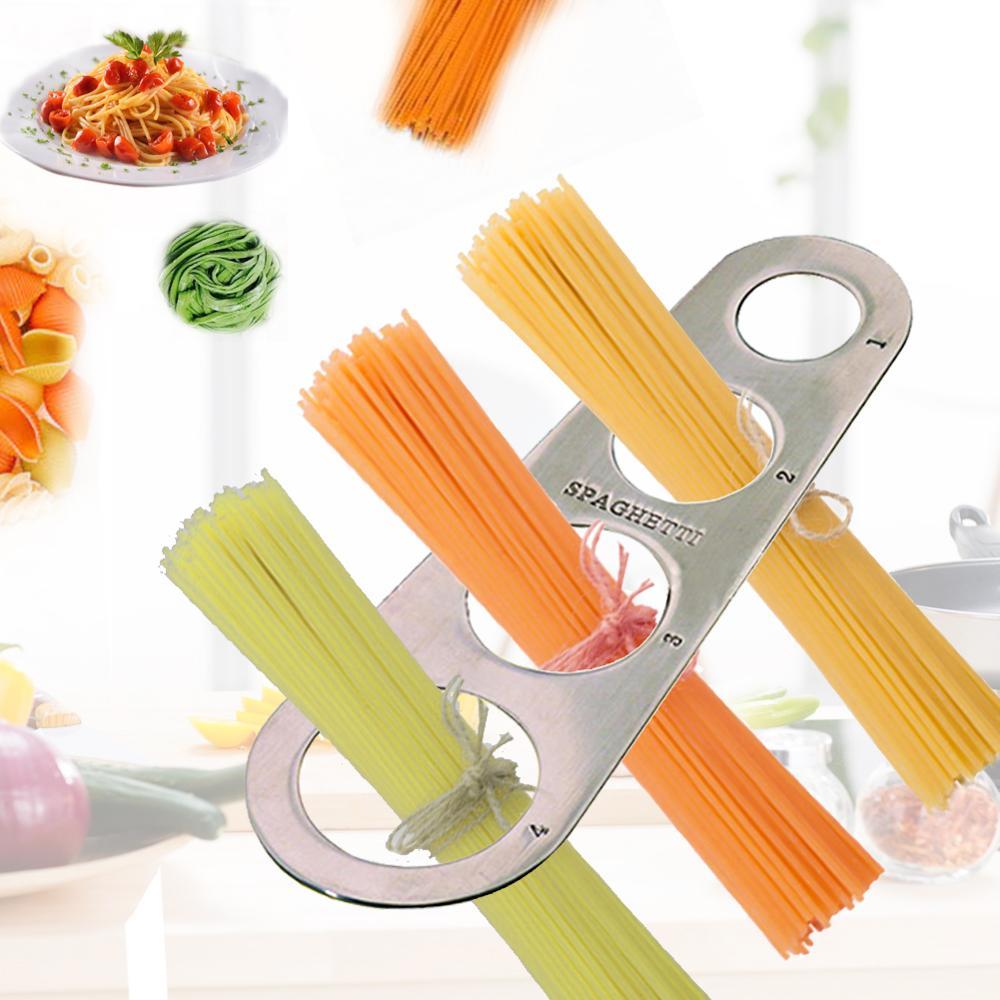 In Acciaio Inox Strumento di Misura di Spaghetti Righello 4 Fori Ristorante Gadget Da Cucina Cucina Forniture Noodle Pasta Righello