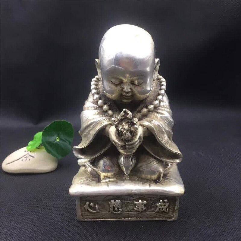 Perles de bouddha en argent tibétain chinois moine Sculpture en Bronze souhaite devenir vrai Fengshui décoration cadeau de bon augure